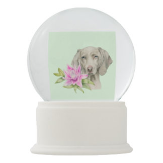 Weimaraner Dog and Lily Watercolor Painting Snow Globe