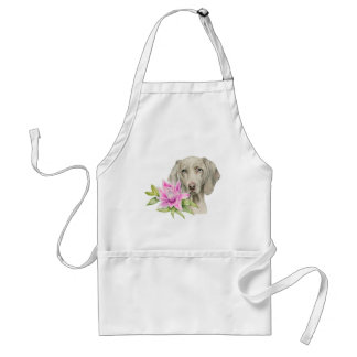 Weimaraner Dog and Lily Watercolor Painting Standard Apron