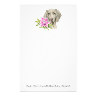 Weimaraner Dog and Lily Watercolor Painting Stationery