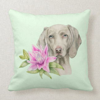 Weimaraner Dog and Lily Watercolor Painting Throw Pillow