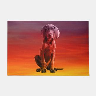 Weimaraner Dog Sitting On Beach Doormat