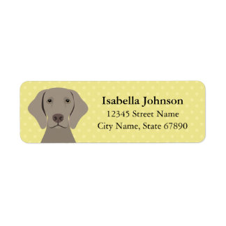 Weimaraner Dog Yellow Return Address Label