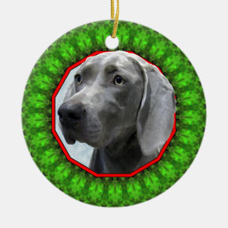 Weimaraner Happy Howliday Ceramic Ornament