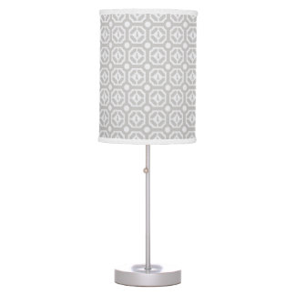 WEIMARANER HEXAGON TAUPE TABLE LAMP SILVER BASE