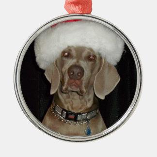 Weimaraner Holiday Helper Metal Ornament