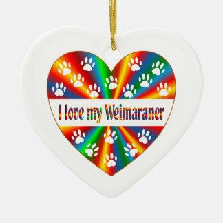 Weimaraner Love Ceramic Ornament