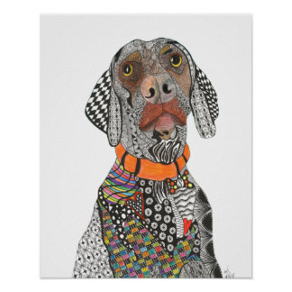 "Weimaraner Poster 16x20"" (You can Customize"