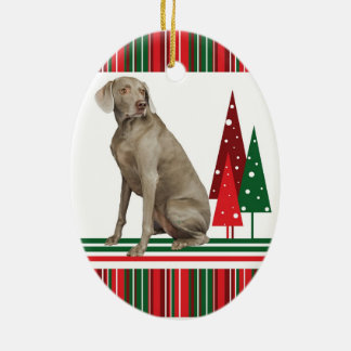 Weimaraner Retro Christmas Ornament