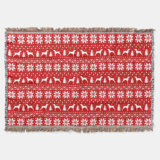Weimaraner Silhouettes Christmas Pattern Red Throw Blanket