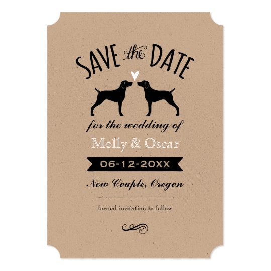 Weimaraner Silhouettes Wedding Save the Date Card