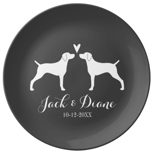 Weimaraner Silhouettes with Heart and Text Porcelain Plates