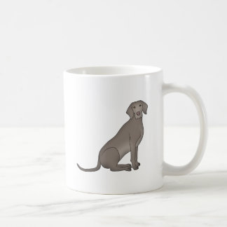 Weimaraner sits coffee mug