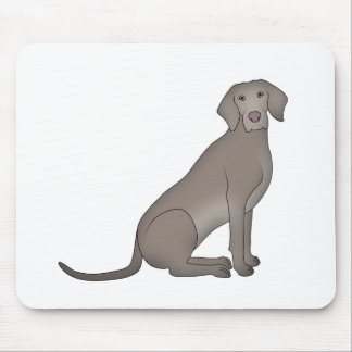 Weimaraner sits mouse pad