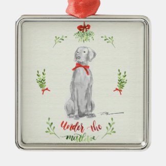 WEIMARANER UNDER THE MISTLETOE METAL ORNAMENT