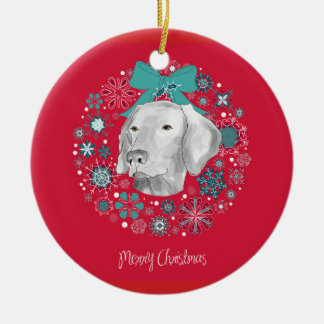 WEIMARANER WREATH ORNAMENT