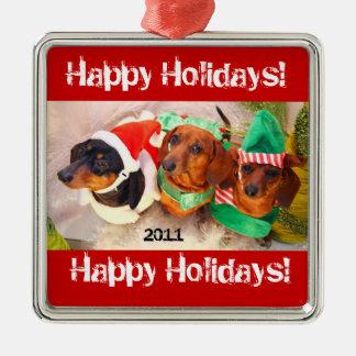 Weiner Dog Happy Holiday Ornament