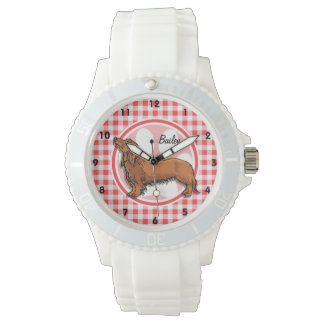 Weiner Dog; Red and White Gingham Watch