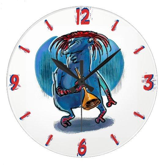 weird alien musician funny cartoon wall clocks