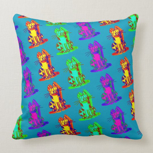 weird cat quick drawing cartoon throw pillow