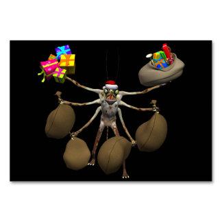 Weird Creeper Santa Claus With Full Hands Table Card