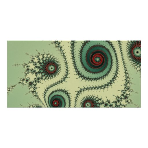 Weird Fractal Design - Red and Green Spirals Dots Personalized Photo Card