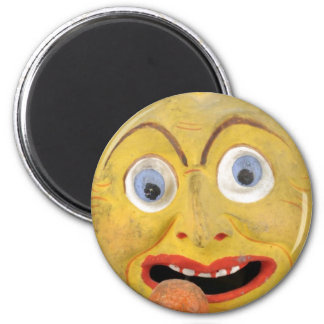 Weird Painted Dirty Face Vintage Papier Mache Toy Magnet