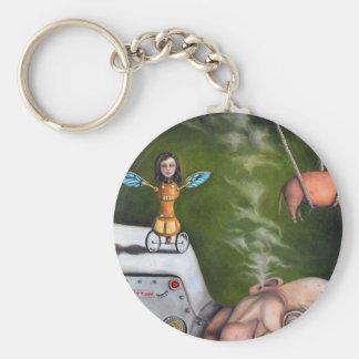 Weird Science Basic Round Button Keychain