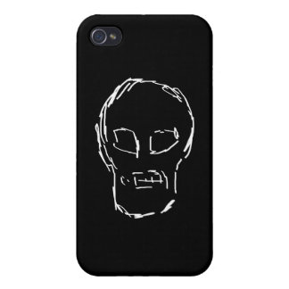 Weird Skull White Sketch iPhone 4 Cover