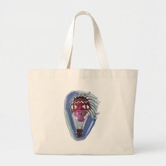 weirk hot air balloon cartoon style illustration large tote bag