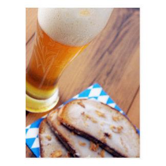 Weis beer mug with lard bread slices postcard