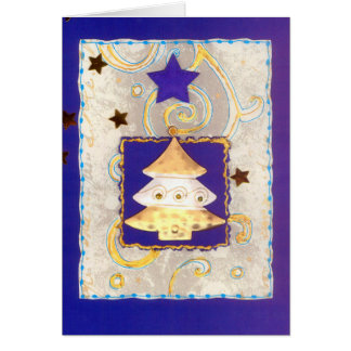 WEIS-GOLDEN CHRISTMAS TREE on blue with stars Card