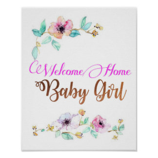 Welcom Home Baby Girl with copper foil font Poster