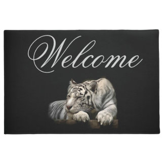 "Welcome 18"" x 24"" Door Mat/White Tiger Doormat"