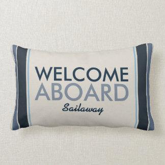 Welcome Aboard Customized Vertical Stripes Blue Lumbar Pillow