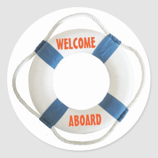 Welcome Aboard Life Ring Classic Round Sticker