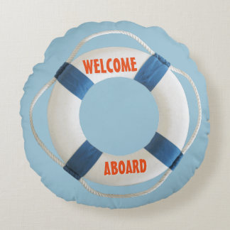 Welcome Aboard Life Ring Nautical Round Pillow