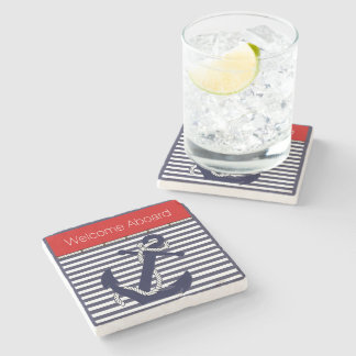 Welcome Aboard Nautical Anchor Chic Stripe Pattern Stone Coaster