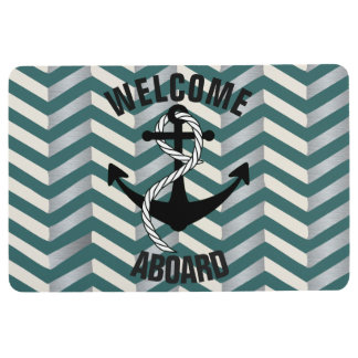 Welcome Aboard Nautical Blue Geometric Floor Mat