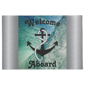 Welcome Aboard Nautical Ocean Mat