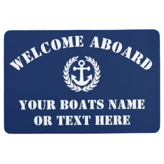 Welcome aboard sailing boat or motor yacht floor mat