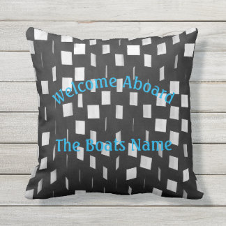 Welcome Aboard with Personalized Boat Name - Throw Pillow