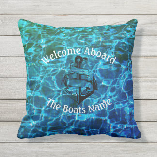 Welcome Aboard with Personalized Boats Name - Outdoor Pillow