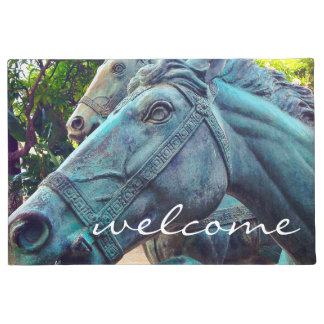 """Welcome"" Asian blue horse statue photo doormat"