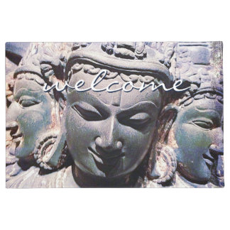 """Welcome"" Asian stone faces statue photo doormat"