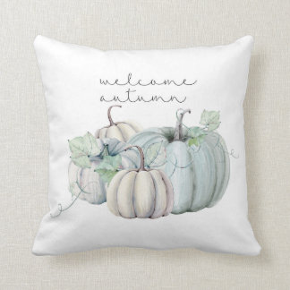 welcome autumn - blue pumpkin throw pillow