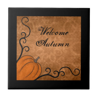 Welcome Autumn harvest pumpkin with swirls Ceramic Tile