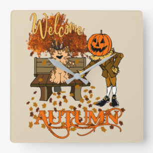 Welcome Autumn Pumpkin Head Pilgrim and Cat Square Wall Clock