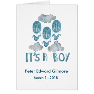 Welcome baby! Baby boy announcement card