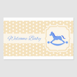Welcome Baby Blue Boy Sticker