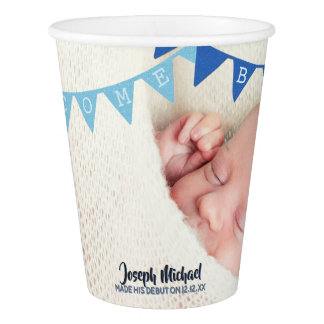 Welcome Baby Boy Banners Photo Dated Personalized Paper Cup